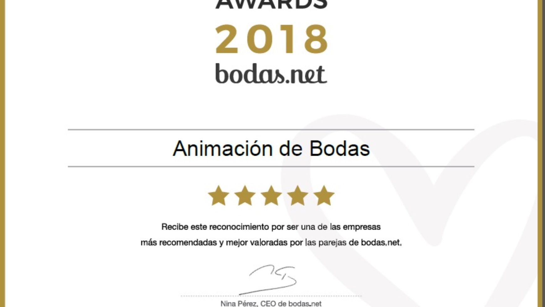 Wedding awards 2018 Bodas.net; ¡¡ www.animacionloca.com campeones un año más!!