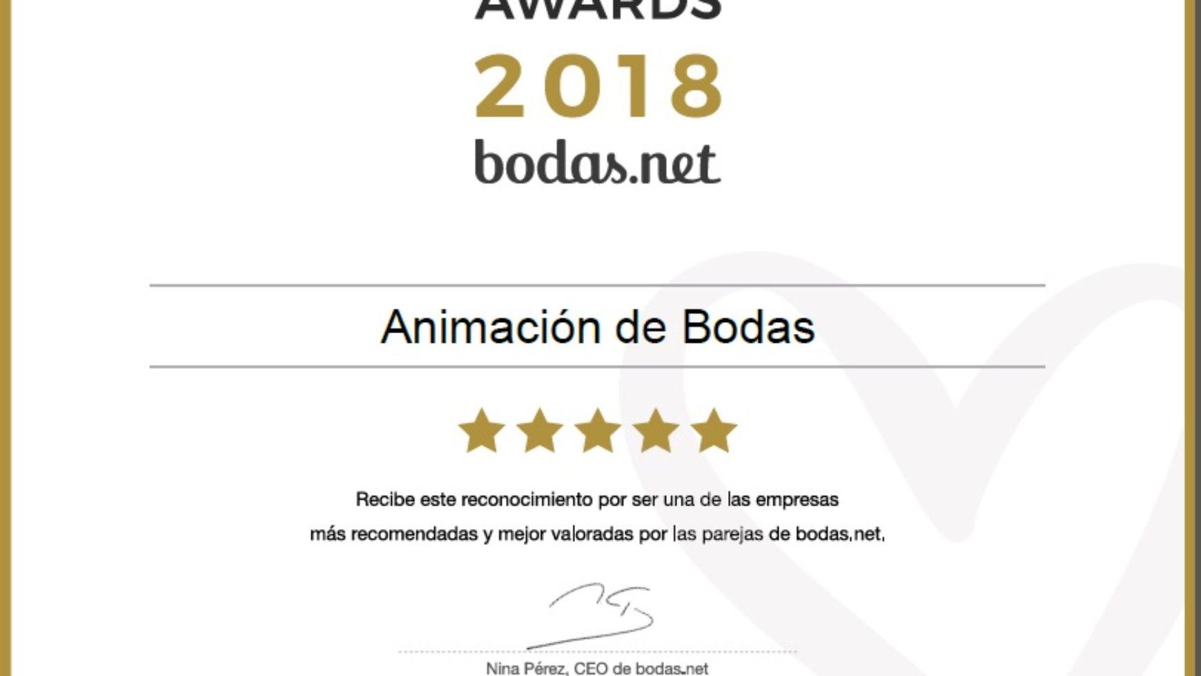 Wedding awards 2018 Bodas.net; ¡¡ www.animacionloca.com campeones un año más!!