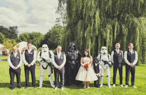 Amigos en boda star wars